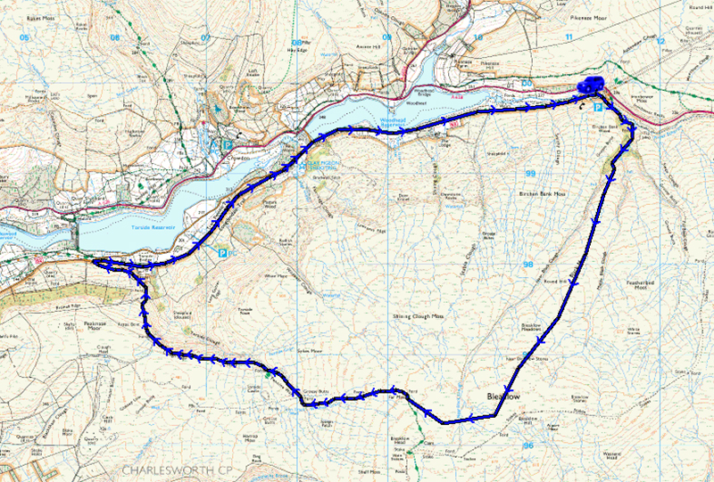 Walking Bleaklow | Walk route map | Peak District - Lake District